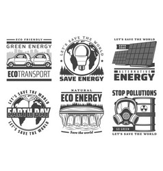 save world alternative energy source vector image