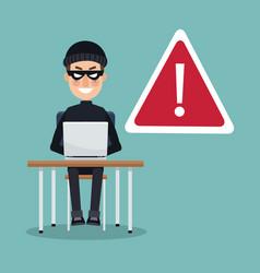 scene color thief man hacker in desk with laptop vector image