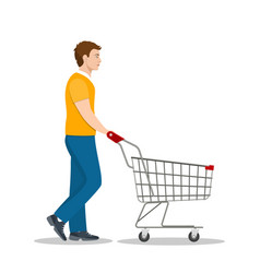 shopping man with a cart vector image