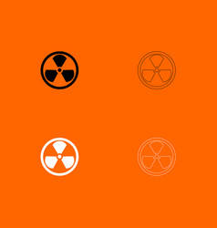 Sign radioactive black and white set icon vector