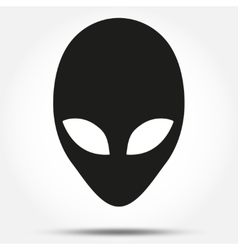Silhouette symbol of Alien head creature from vector image