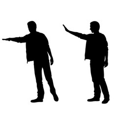 Silhouettes of men calling taxi vector