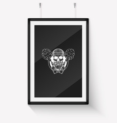 Sketch hipster skull with beard vector