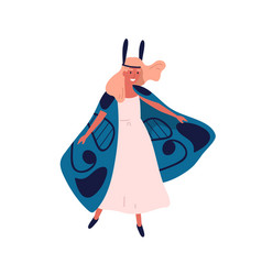 smiling elegant woman in butterfly costume vector image