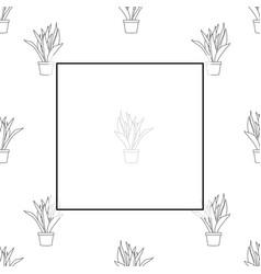 Snake plant outline banner on white background vector