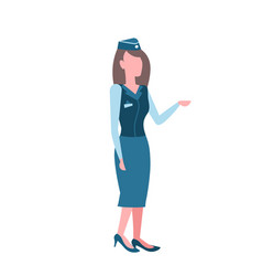stewardess woman in uniform and hat airport crew vector image