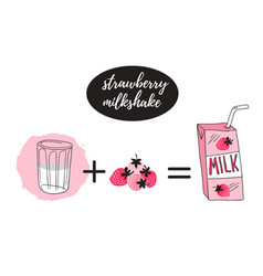 Strawberry milk graphic banner design with vector