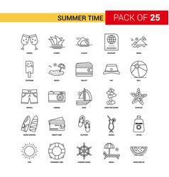 summer time black line icon - 25 business outline vector image