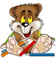 sweet bear and crayons vector image