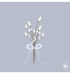 Sweet cartoon winter bouquette with white flowers vector image
