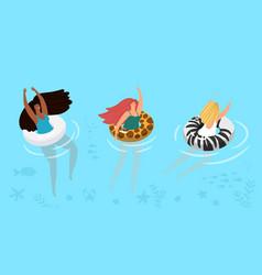 swimming girls banner vector image