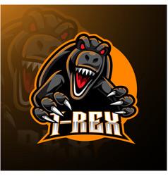 T-rex esport mascot logo design vector