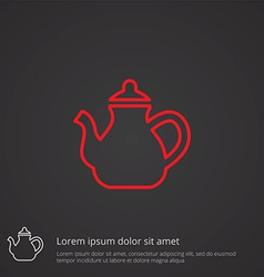 Teapot outline symbol red on dark background logo vector