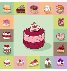 Template with different kinds of delicious vector image