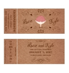 Ticket for Wedding Invitation with bouquet vector image