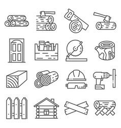 Timber line industry icon set vector