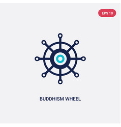Two color buddhism wheel icon from food concept vector