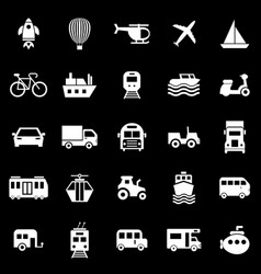 vehicle icons on black background vector image