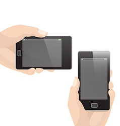 Vertical and Horizontal Smart Phone with Hand vector image vector image