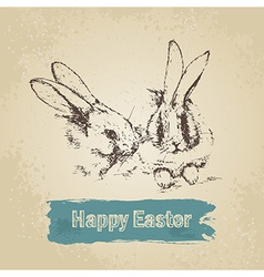 Vintage background with Easter rabbits vector image