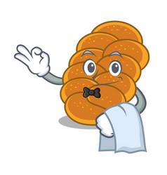 Waiter challah mascot cartoon style vector