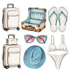 watercolor travel themed icons wit suitcases vector image