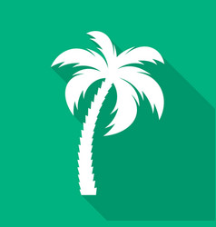white palm tree flat icon vector image