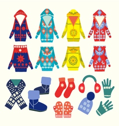 winter clothes and accessories vector image