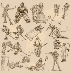 Winter sports mix - an hand drawn collection vector