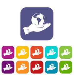 World planet in man hand icons set flat vector
