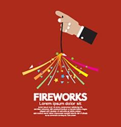 Burning Sparkler Firework In Hand vector image vector image