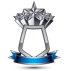 Five silver stars with wavy ribbon placed on a vector