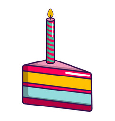 piece of birthday cake with candle icon vector image
