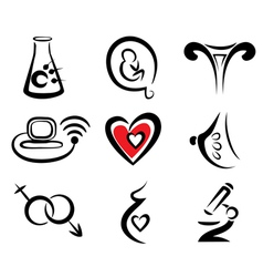 reproduction set of medical icons vector image vector image