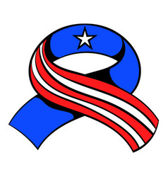 ribbon in the usa flag colors icon cartoon vector image