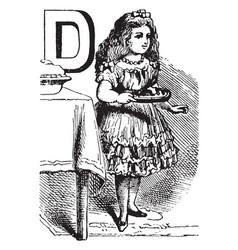alphabet d dealt it vintage vector image