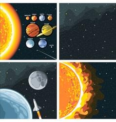 Digital cosmos icons set with galaxy vector image