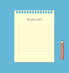 flat to do list and pencil on blue background vector image