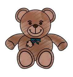 isolated teddy bear toy design vector image vector image