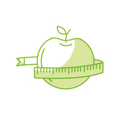 silhouette delicious apple fruit with tap vector image