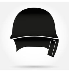 Silhouette symbol of Classic Baseball helmet front vector image