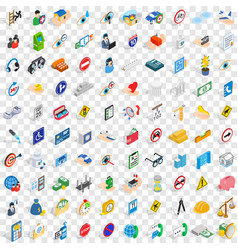 100 care and help icons set isometric 3d style vector image vector image