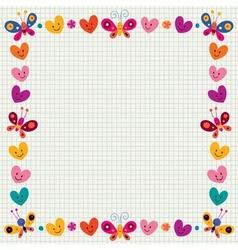 Butterflies hearts border frame vector