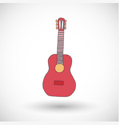 guitar icon with round shadow vector image