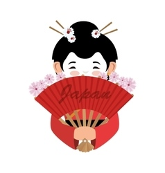 Japanese culture beautiful geisha vector