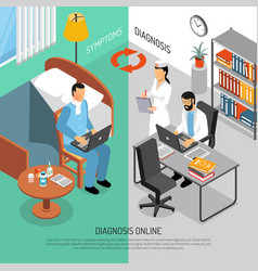 online medical diagnosis isometric banners vector image