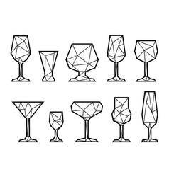 set triangle icon glasses vector image vector image