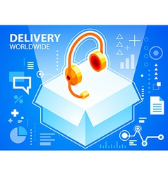 bright delivery box and head phone on blue b vector image