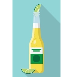Cerveza Bottle Beer with Lime Wedge vector image vector image