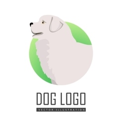 Dog logo of maremma sheepdog breed dog vector